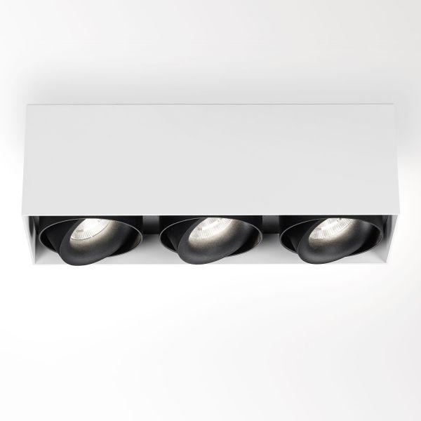 Deltalight, Minigrid on 3 Box dimmable ceiling light, color white + black