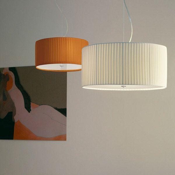 Cilindro D70 E27 Pleated Fabric Pendant Light