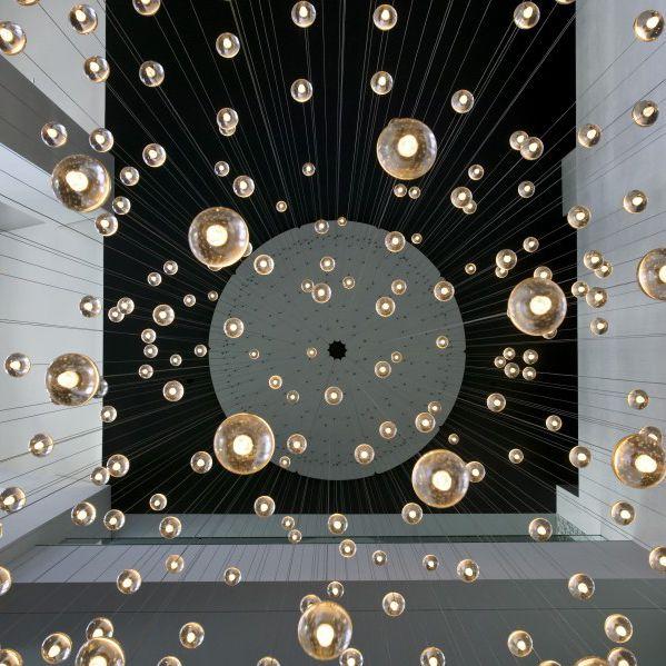 14.14 Cast glass round pendant chandelier light