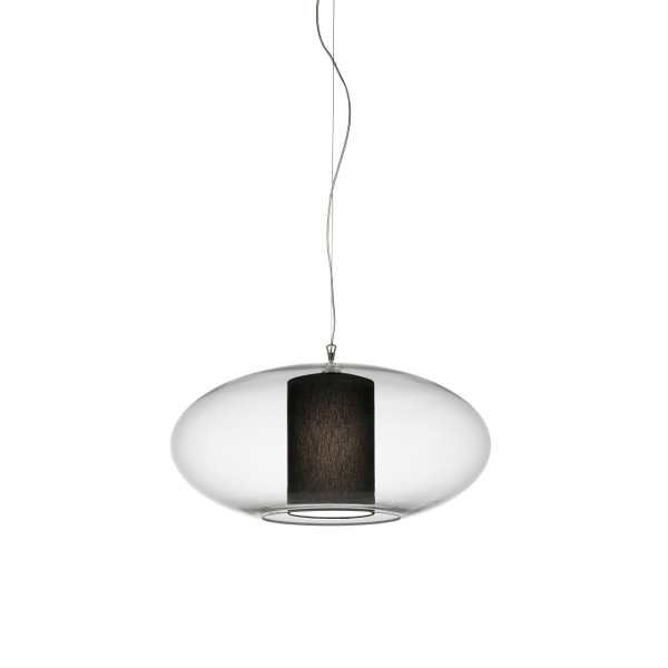 Ellisse D80 Cotton/Polyester Pendant light, black