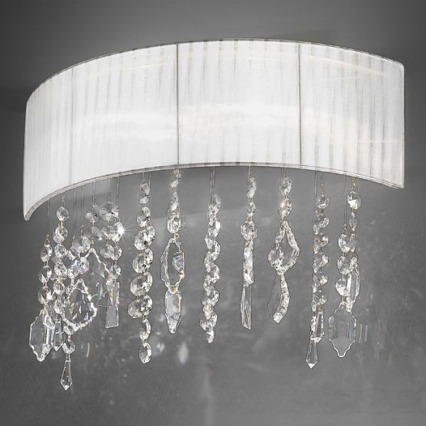 Paralume 2 wall lamp, white shade, golden structure, Spectra crystals