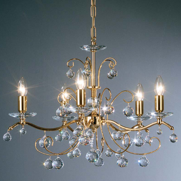Carmen II 5 pendant lamp, gold plated