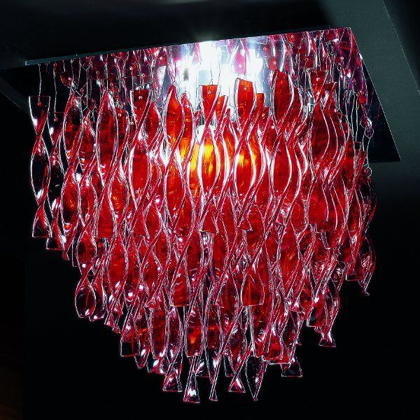 AURA PL 45 ceiling light red polished steel